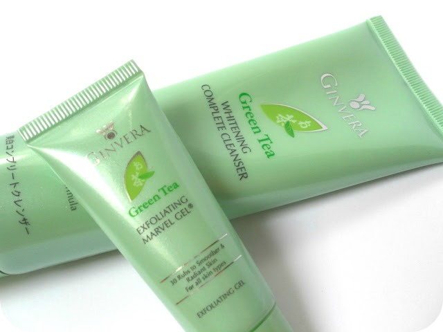 A picture of Ginvera Green Tea Exfoliating Marvel Gel and Ginvera Green Tea Whitening Complete Cleanser