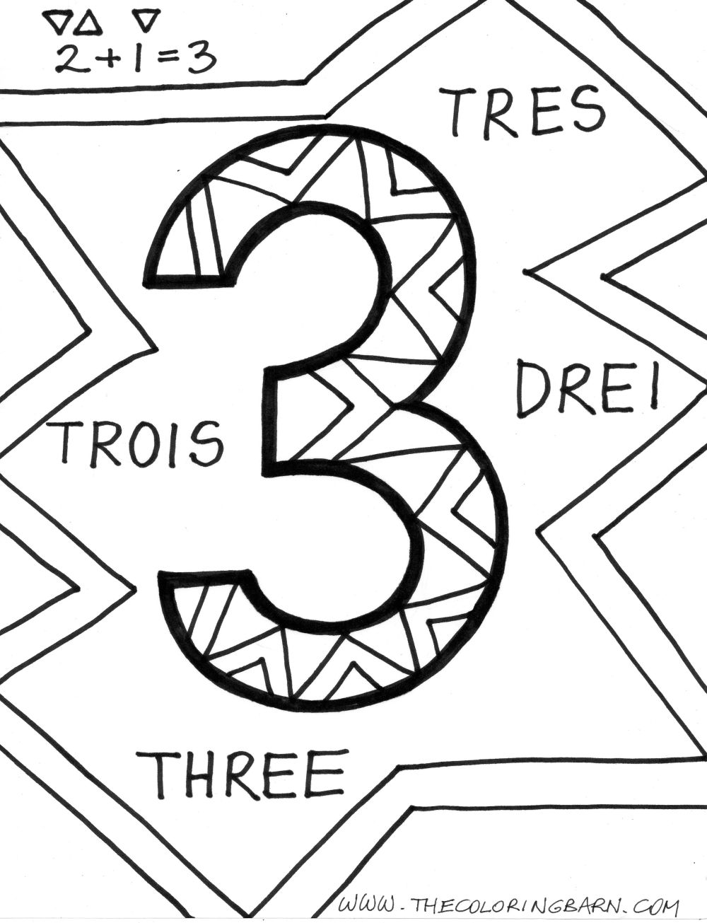 Coloring Pages for Kids: Number Three \