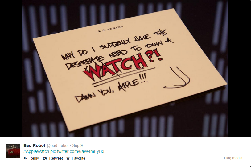 "JJ Abrams' Mysterious Apple Watch ""Star Wars"" Note"