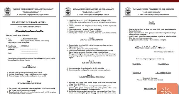 Contoh Surat Perjanjian Kontrak Kerja Guru Paud