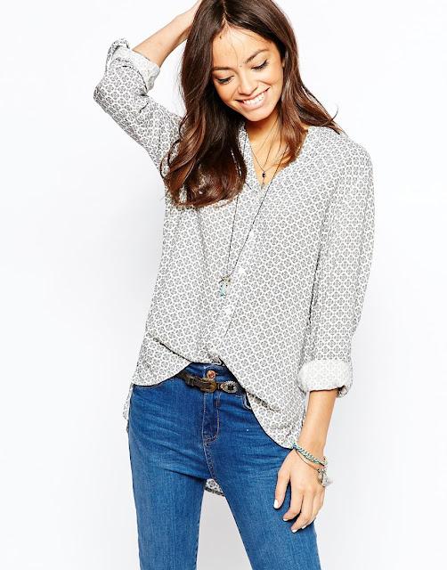 new look print shirt, grey geo shirt,