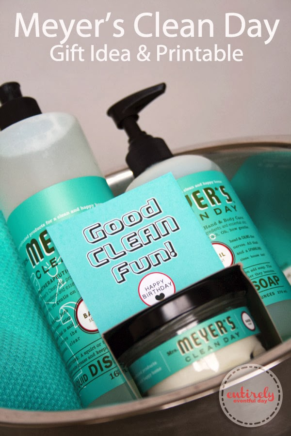 "Adorable gift idea. Some Meyer's Clean Day products and a FREE ""Good Clean Fun"" printable. So cute. #gifts #giftidea www.entirelyeventfulday.com"