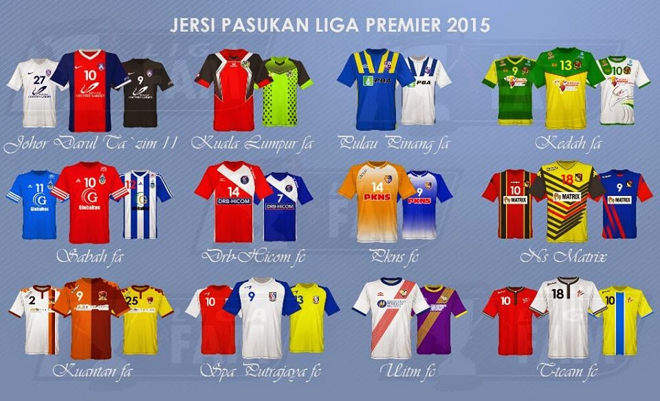 Jersi Pasukan Liga Perdana 2015