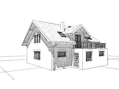 Architekt Rzeszow. Elewacja frontowa. Dom jednorodzinny z poddaszem użytkowym.