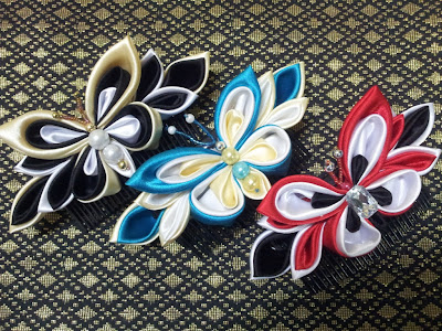 tsumami kanzashi, butterfly, haircomb, sikat, hair accessories, handmade