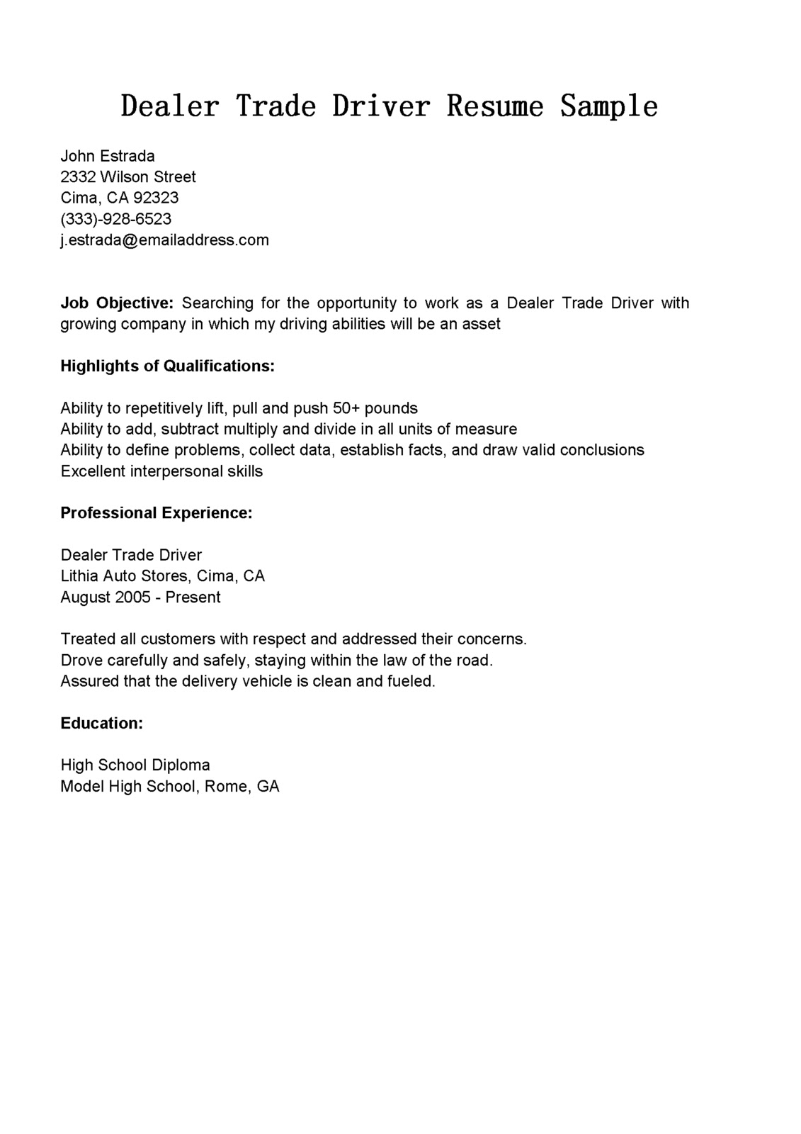 Driver Resumes Dealer Trade Driver Resume Sample