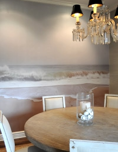 photo wallpaper in dining room