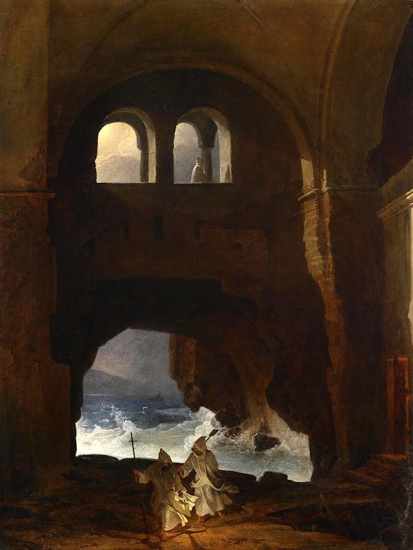 Franz Ludwig Catel - Mönche im Hof eines Klosters am Meer