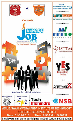 EENADU JOB & CAREER FAIR SEPTEMBER 1ST 2013 - HYDERABAD / SECUNDERABAD [FRESHERS & EXPERIENCE] MULTIPLE OPENINGS.