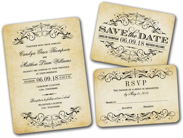 Vintage Wedding Invitations Elegant Flourish