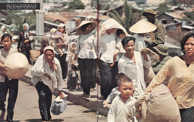 Vietnamese people flee from the fighting
