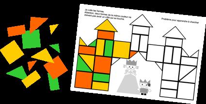 défi math maternelle carrés de couleur Dominique Valentin Le tout petit roi