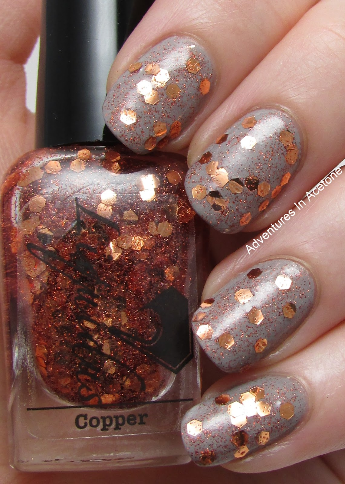 You May Even End Up Brushing Some Off Before Lying To Your Nails I M Showing Only One Coat Below With Top Love That The Microfine Copper Glitter