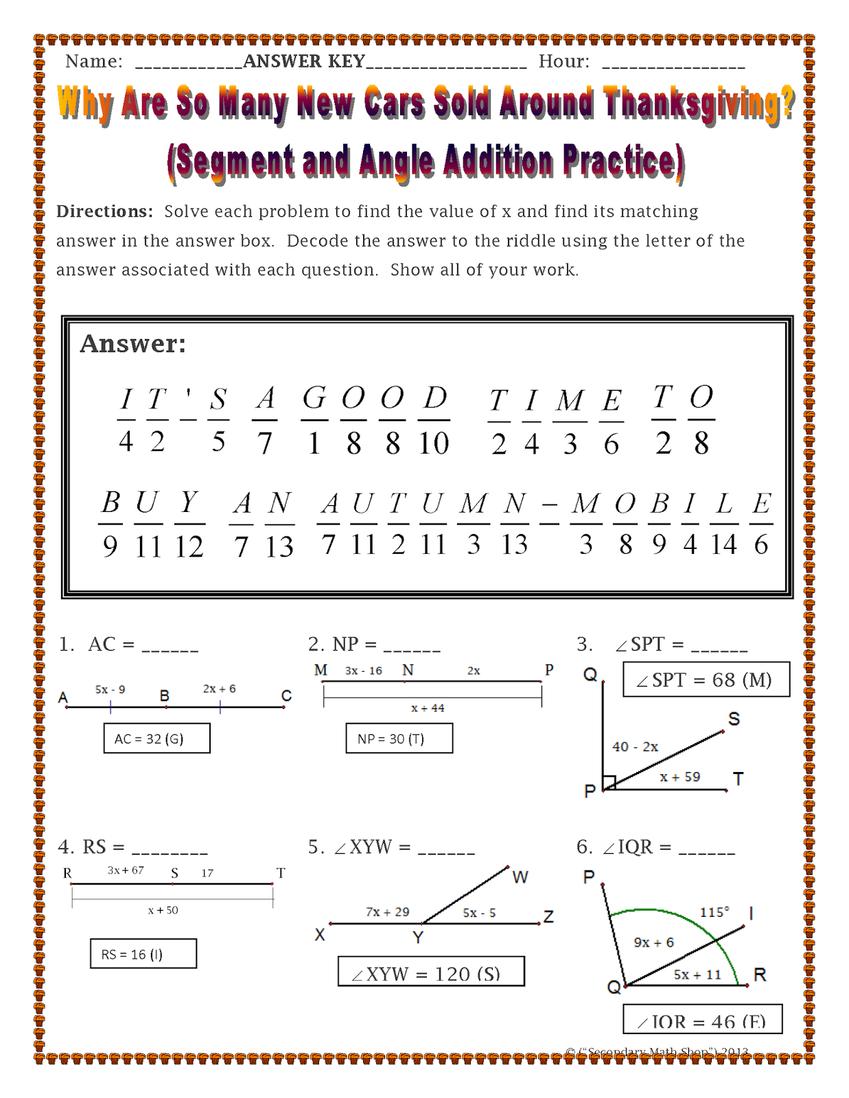 The Spectacular World Of Secondary Math November 2014 – Segment Addition Postulate Worksheets