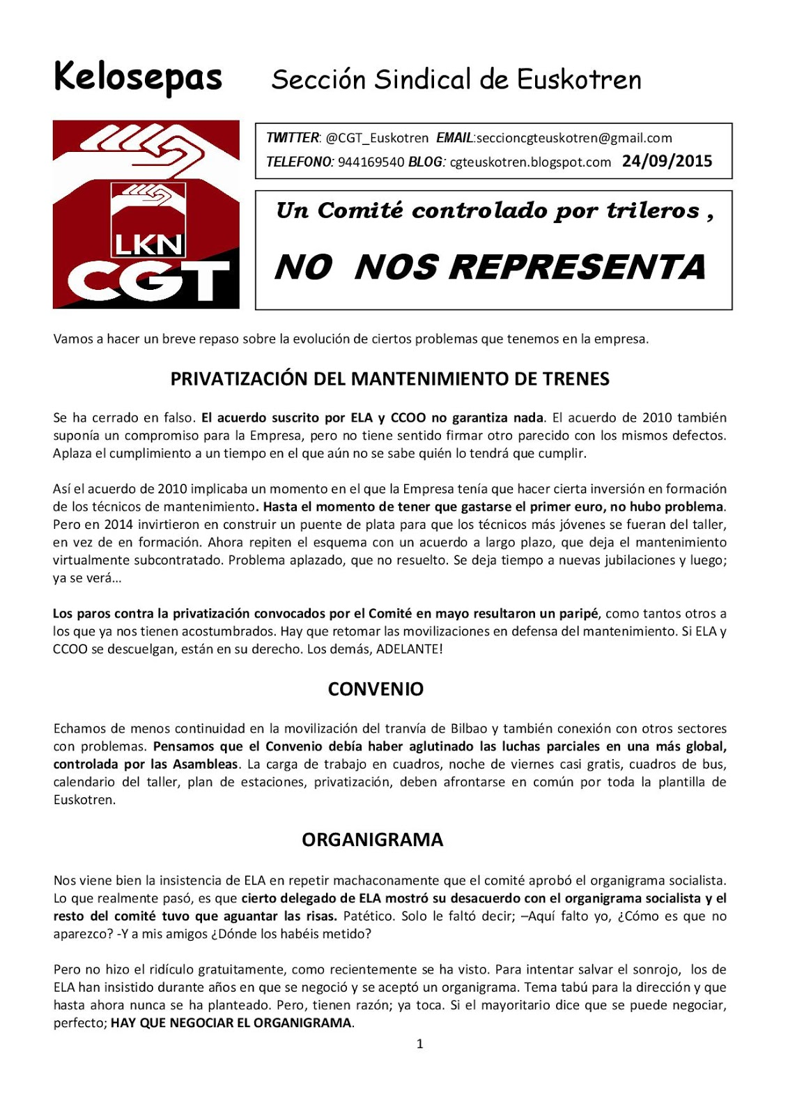 Seccion Sindical en Euskotren: 2015