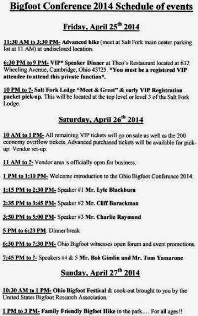 Ohio Bigfoot Conference Schedule 2014