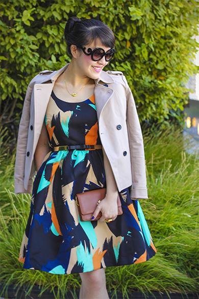 Anthropologie Pinion Dress with Lauren Ralph Lauren clutch