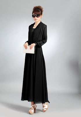 Model Baju Pesta Longdress Sifon Warna Hitam Lengan Panjang