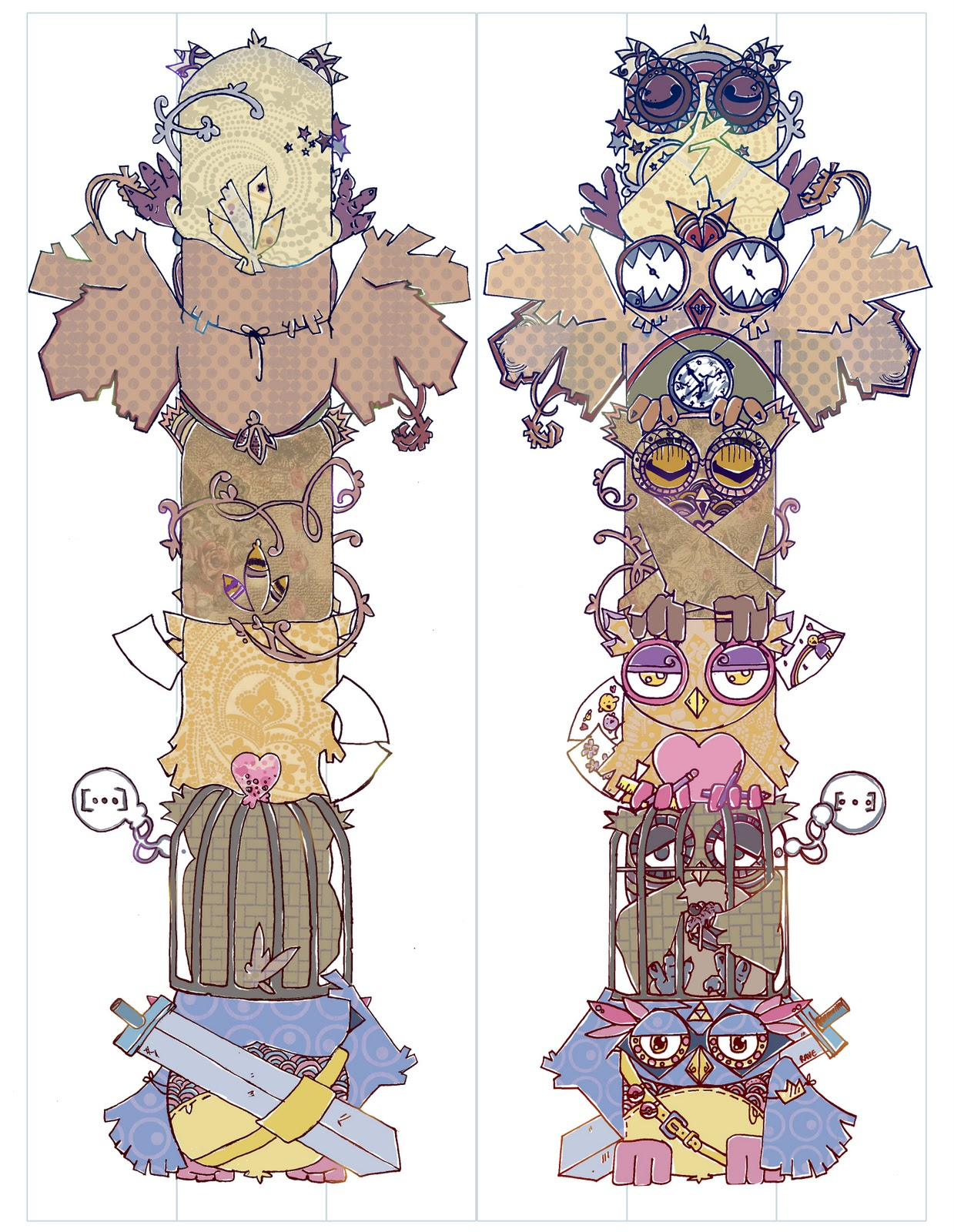 Emillustration totem pole design for Totem pole design template
