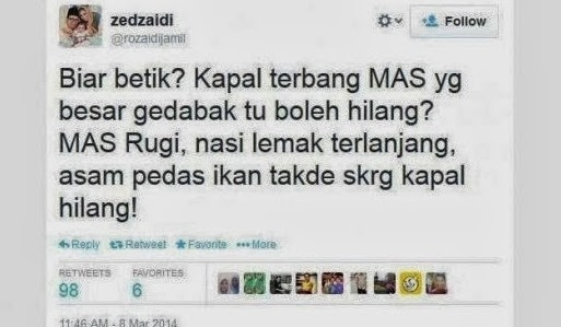 Zed Zaidi mohon maaf hina Pesawat MH370, dikecam Erma Fatima dan Hans Isaac