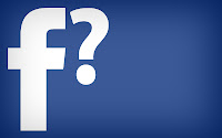 Facebook logo and question mark