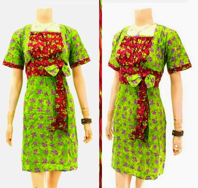 DB3749 Model Baju Dress Batik Modern Terbaru 2014
