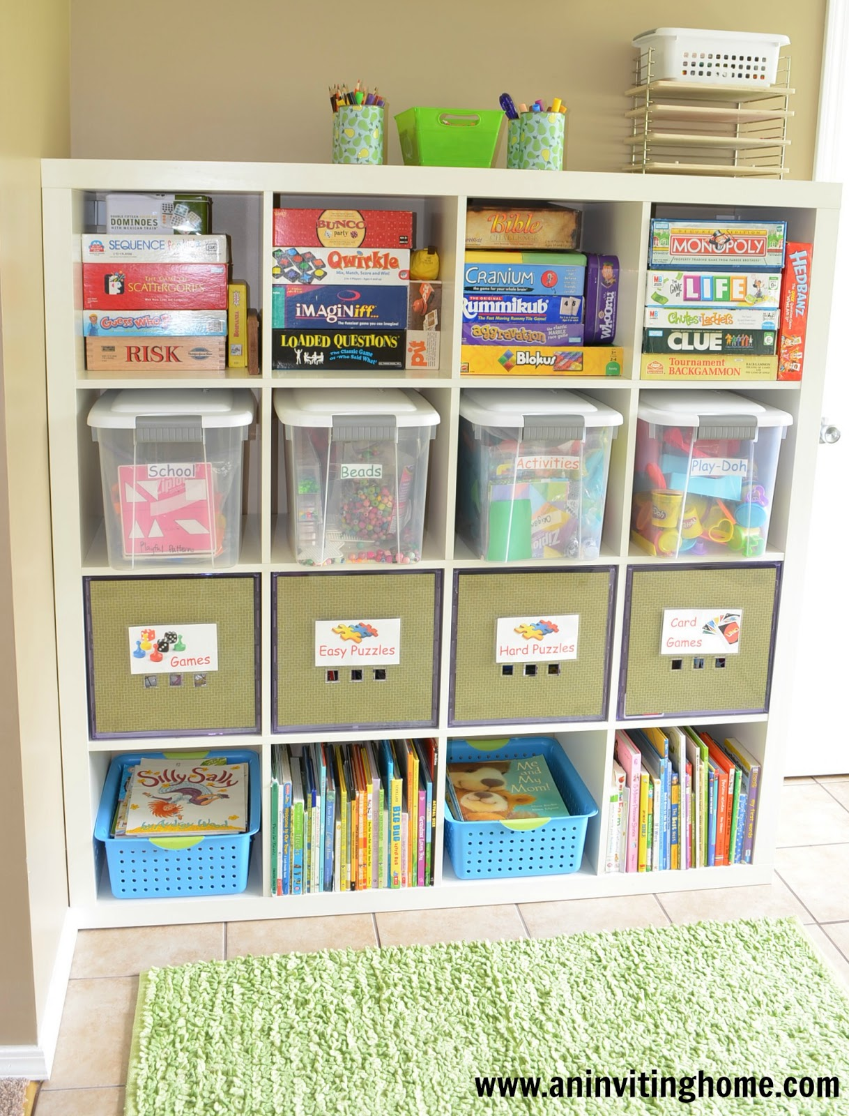 An inviting home 6 tips to organizing a kid 39 s craft space for Shelving for kids room