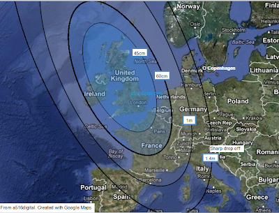 Astra 2F UK spot beam footprint map - based on reception reports.