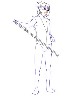 menggambar sasuke uchiha black costume langkah 13