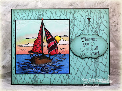 North Coast Creations Stamp sets: Sail Away, Our Daily Bread Designs Stamp sets: Fishing Net Background, ODBD Custom Dies: Vintage Labels, Workshop Tools