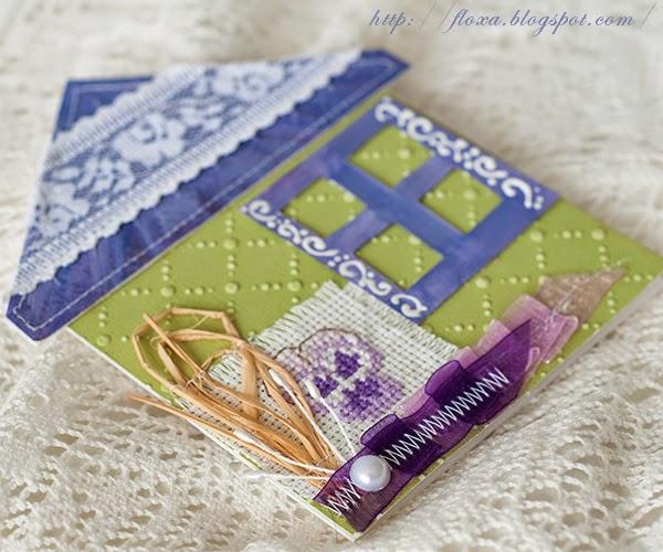 скрап открытка, сиренево салатовый, фиолетовый оливковый, открытка-домик, открытка необычной формы, открытка с вышивкой, вышивка Волшебный мир сказок Бетрисс Потерр, вышивка фиалка,