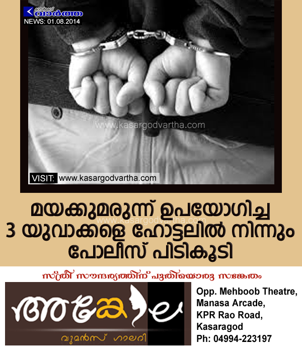 Drug, Manjeshwaram, Police, Arrest, Kerala, Kasaragod, Accused, Hotel, Lodge, Drug addiction: 3 youngsters held