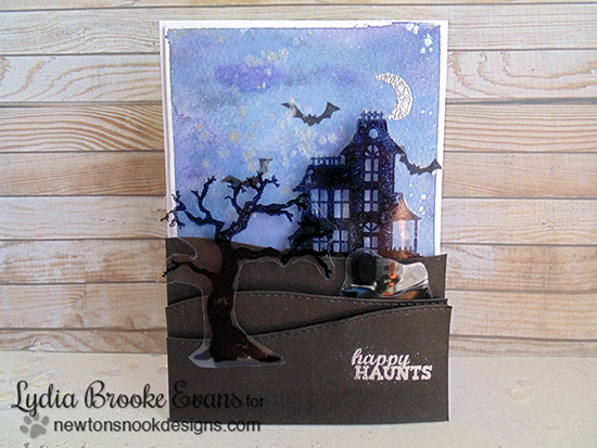 Haunted House Halloween card by Lydia Brooke for Newton's Nook Designs | Spooky Street Stamp Set