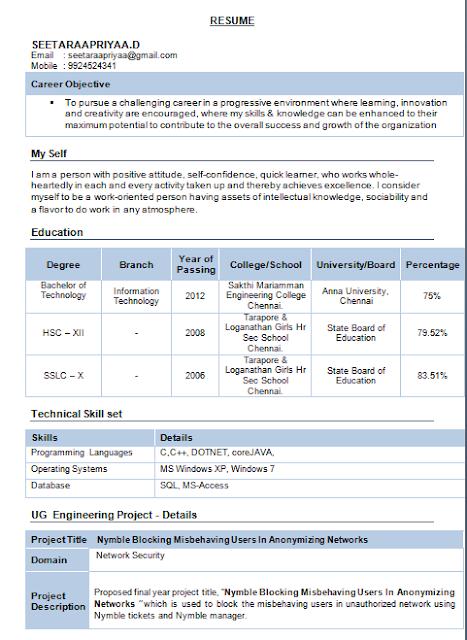 information technology resume format