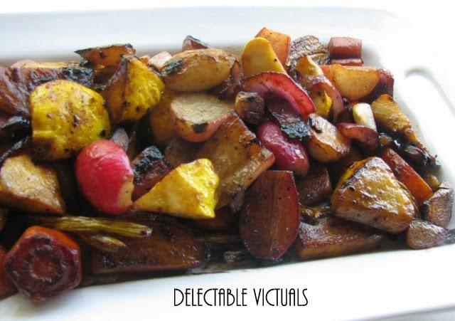 roasted golden beets, purple radish, scallop squash