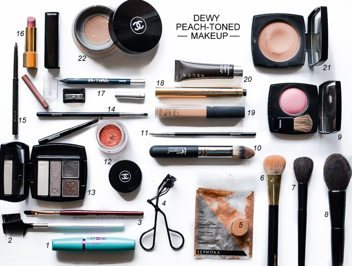 Easy Makeup Tutorial How To Steps Strobing-Inspired Dewy Peach-Toned Look Products Used