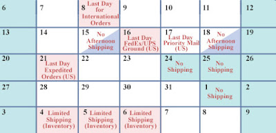 Holiday Shipping Schedule for Holiday Orders