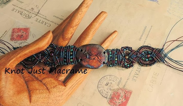 Micro macrame bracelet with Star Spirit Studio raku horse focal