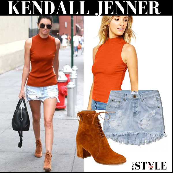 Kendall Jenner in orange sleeveless turtleneck top, denim skirt and brown suede ankle boots fall streetstyle trend 2015