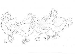 molde de galinhas para patchwork