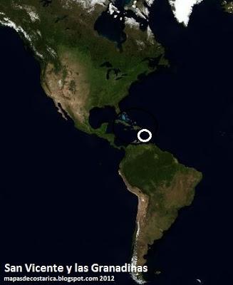 Mapa de San Vicente y las Granadinas en América, Vista Aérea