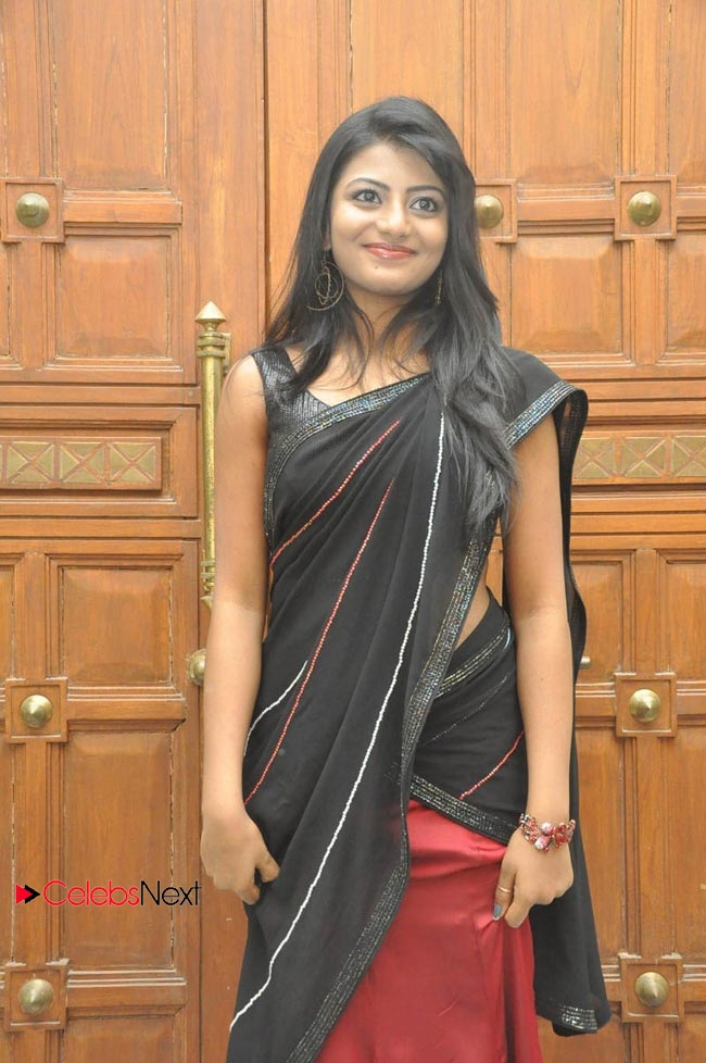 Haasika Picture Gallery in Black Saree at Prema Katha Chitram Audio Release Function  0014.jpg