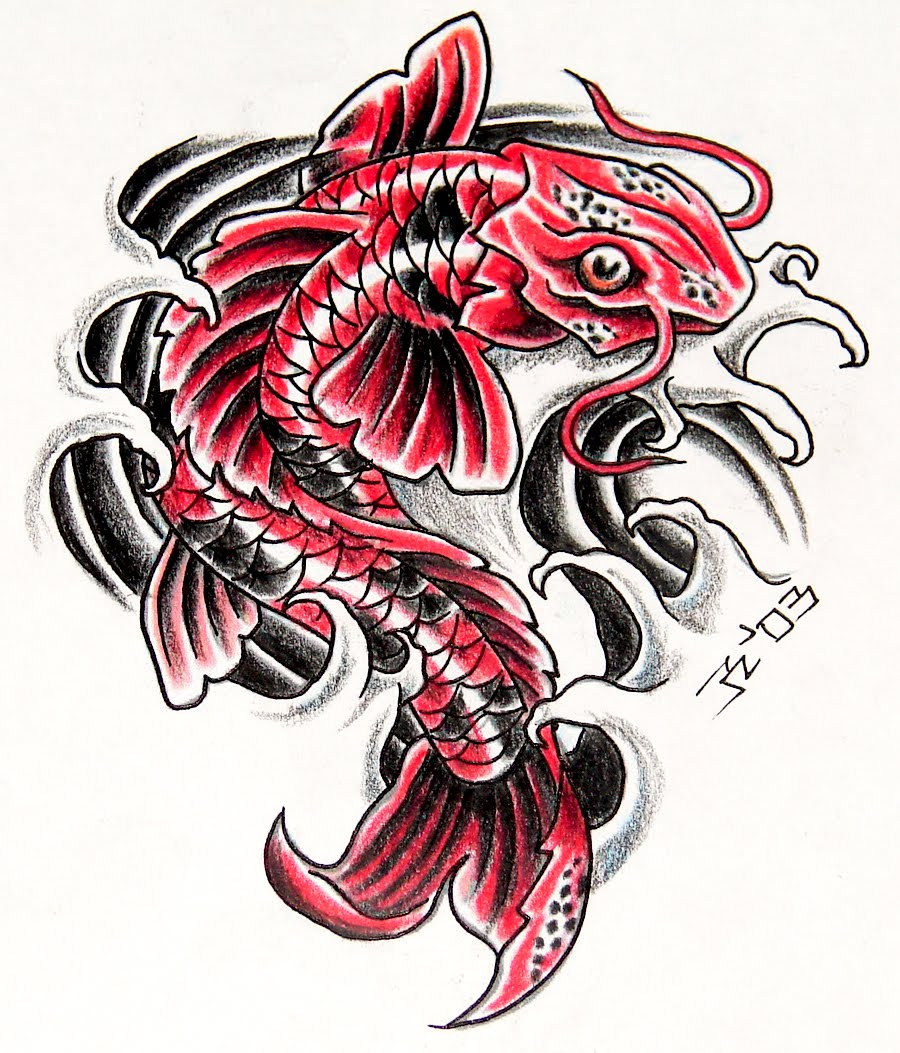 Japanese red koi fish tattoo design for Japanese koi