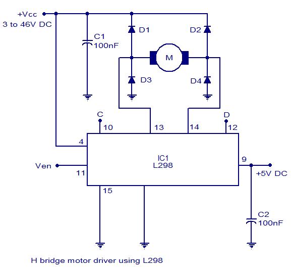 H bridge motor controller circuit diagram electronic for Dc motor driver ic