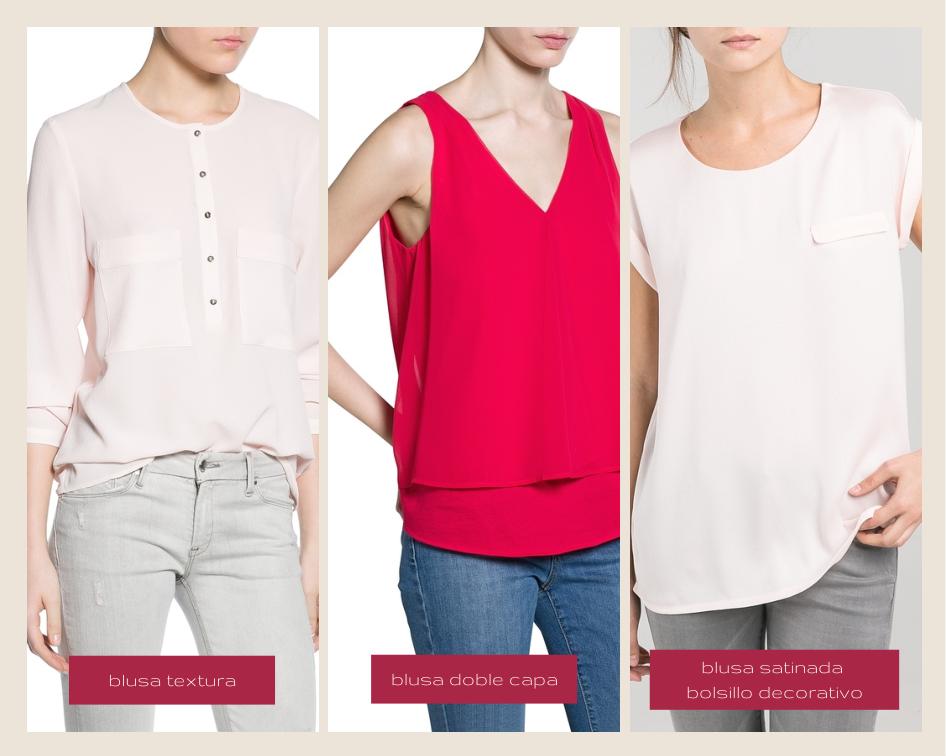 mango spring 2014 blusas: blusa textura, blusa doble capa, blusa satinada