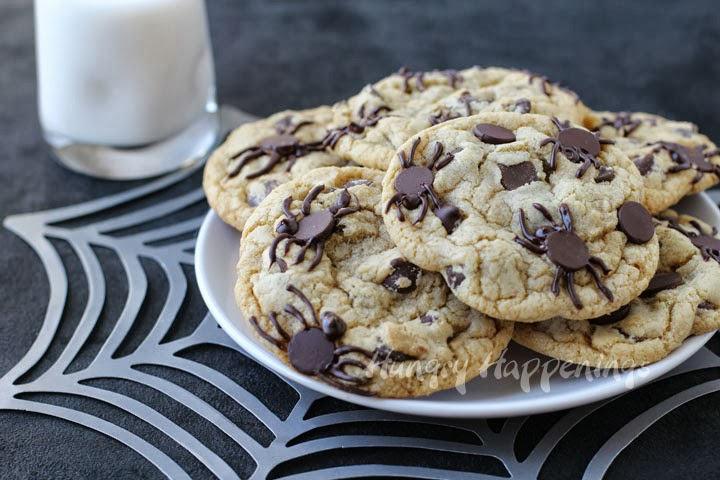 Spider Infested Chocolate Chip Cookies - Creepy Halloween Treats