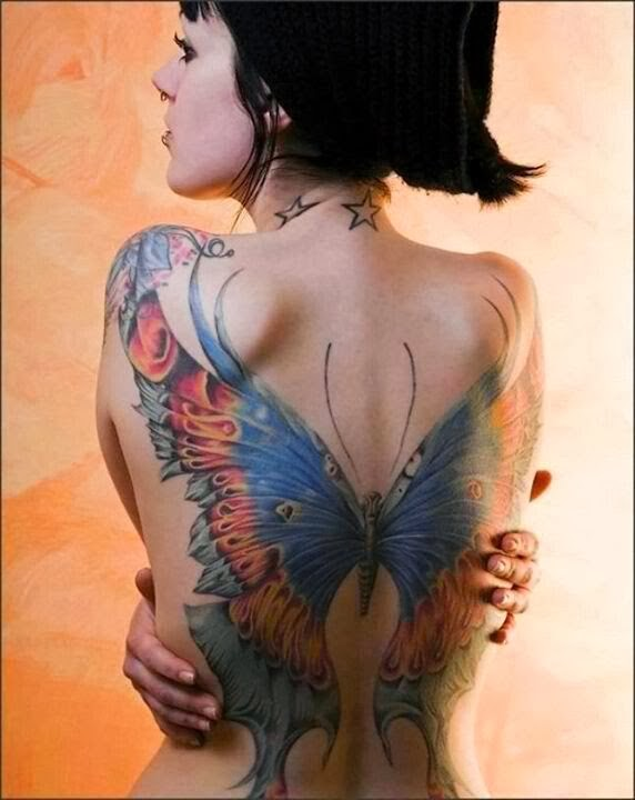 Beautiful butterfly back tattoo.