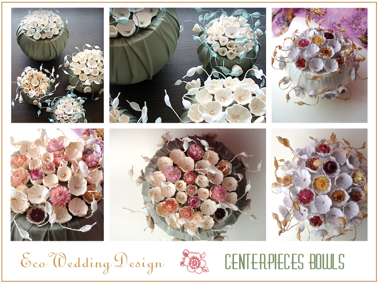 Centrotavola per matrimonio eco-friendly. Paper flowers wedding centerpieces