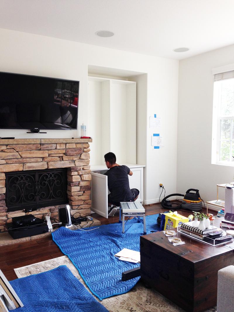 california closets living room built in installation