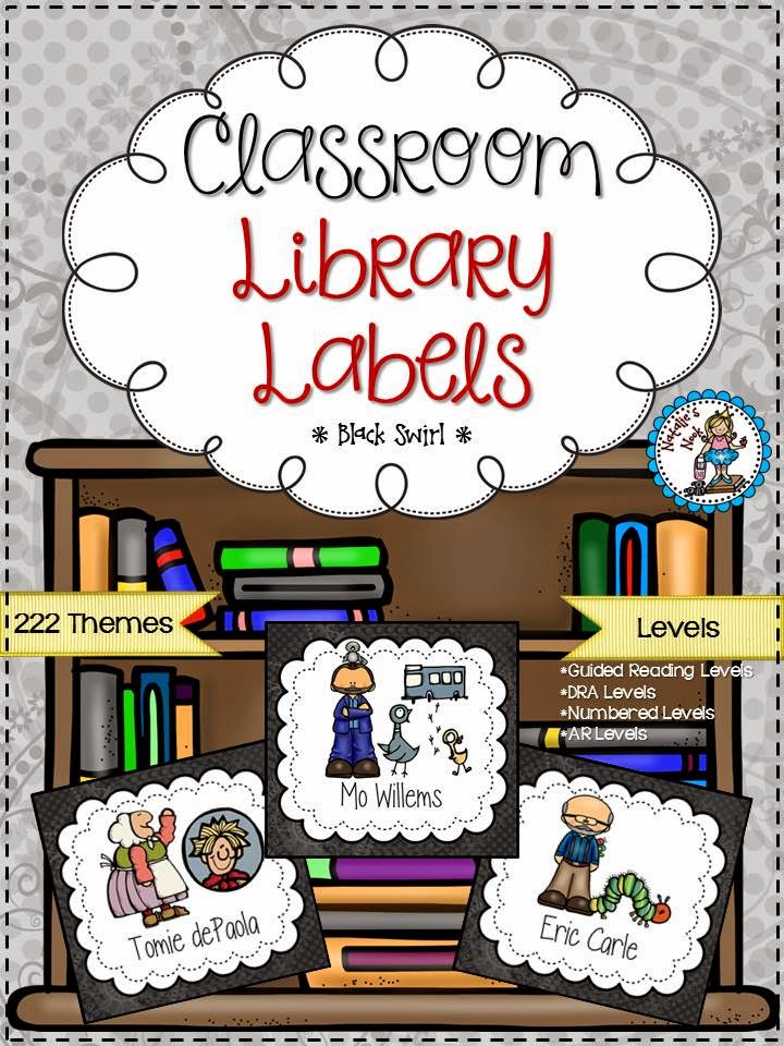 http://www.teacherspayteachers.com/Product/Classroom-Library-Labels-Black-Swirl-1299170